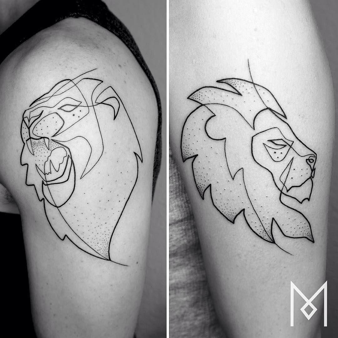 tattooistartmagazine lion moganji singleline tattoos pinterest lions tattoo and tatoo. Black Bedroom Furniture Sets. Home Design Ideas