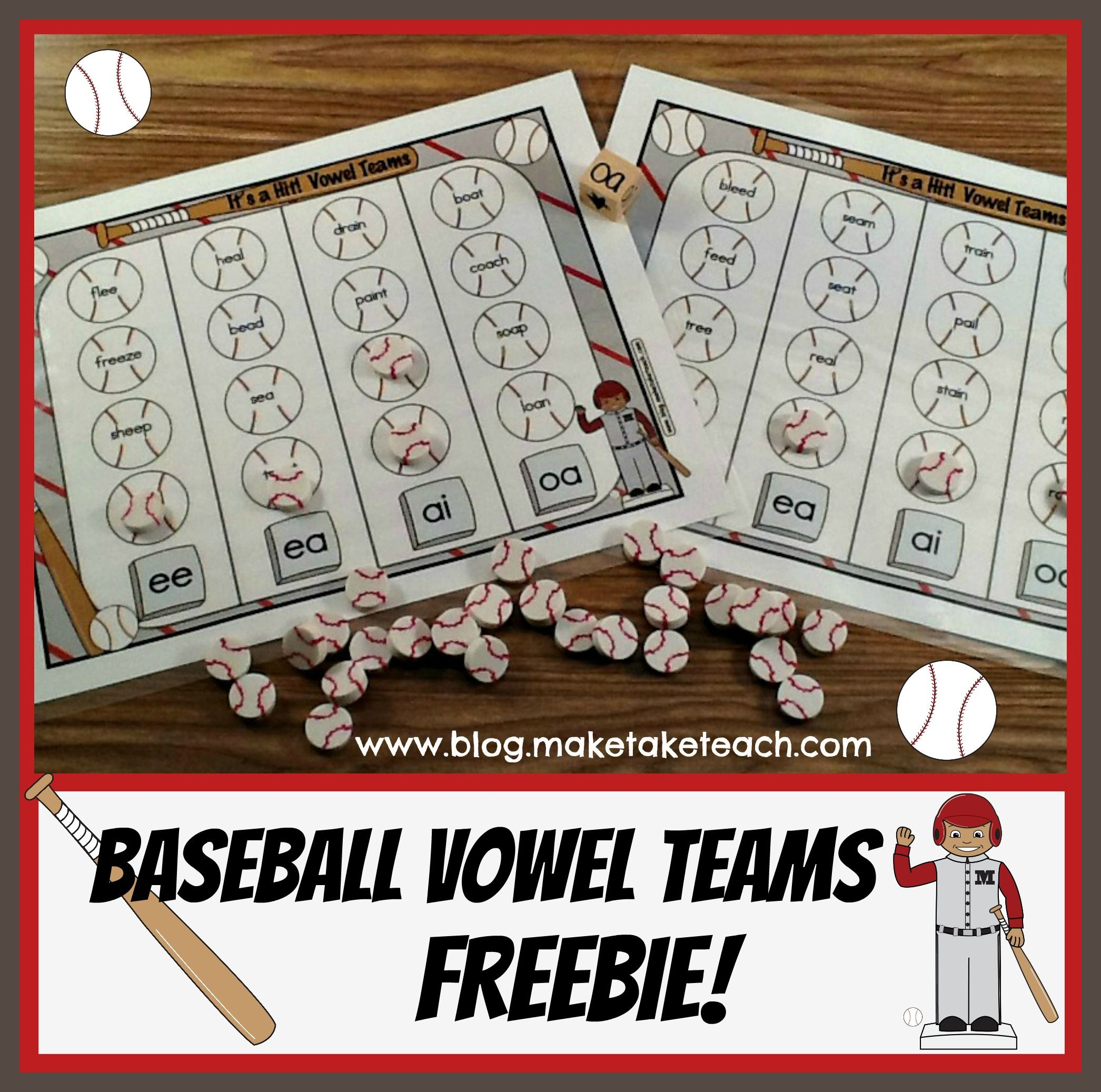 Vowel Teams Baseball Freebie