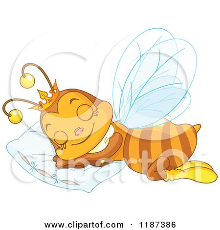 cute pillow clipart. cartoon of a cute queen bee sleeping on pillow - royalty free vector clipart by
