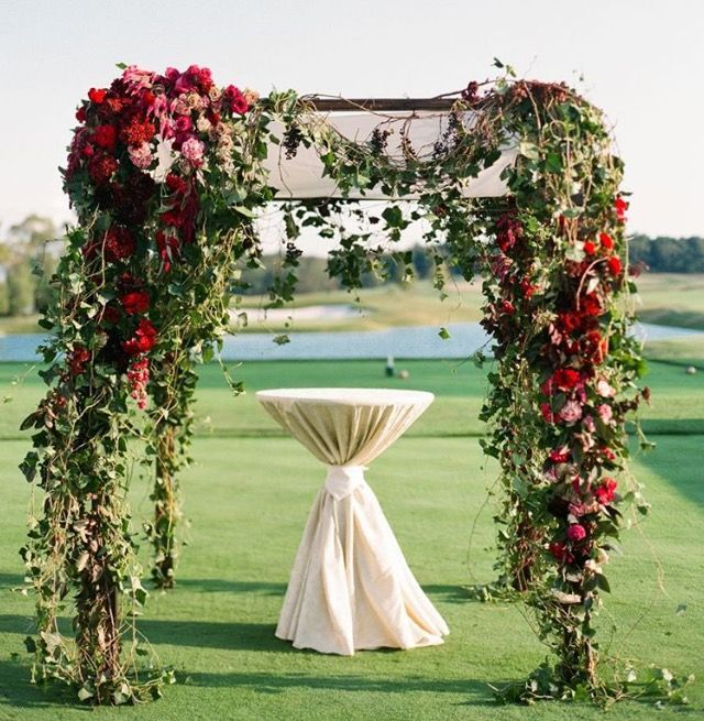 Pin By Stems Floral Design Event St On Arch Designs Golf Course Wedding Wedding Arch Chuppah