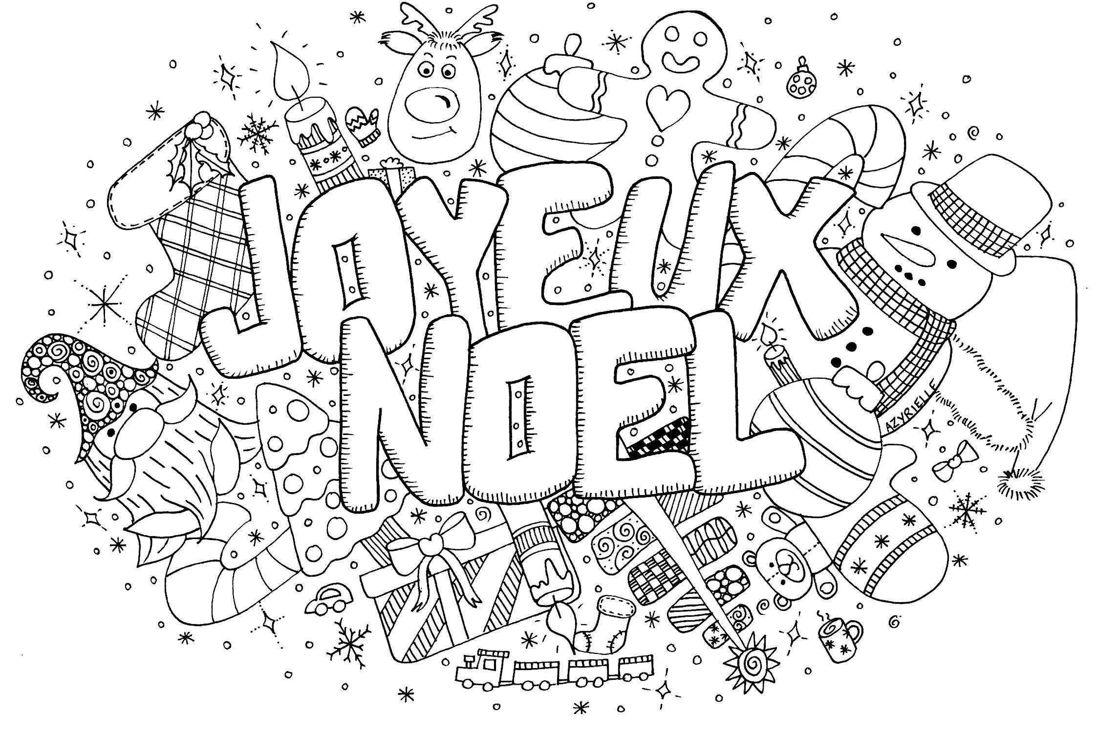 Doodle Noel   Noël   Coloriages Difficiles Pour Adultes Trouver