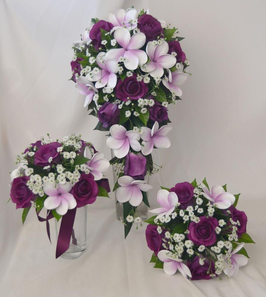 Latex wedding dress  SILK WEDDING BOUQUETS LATEX PURPLE ROSES FRANGIPANI WHITE GYP