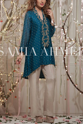 544eaf3b8c Royal Blue Embroidered Kurti by Samia Ahmed. Royal Blue Embroidered Kurti  by Samia Ahmed Pakistani Dresses Casual, Pakistani Party Wear ...