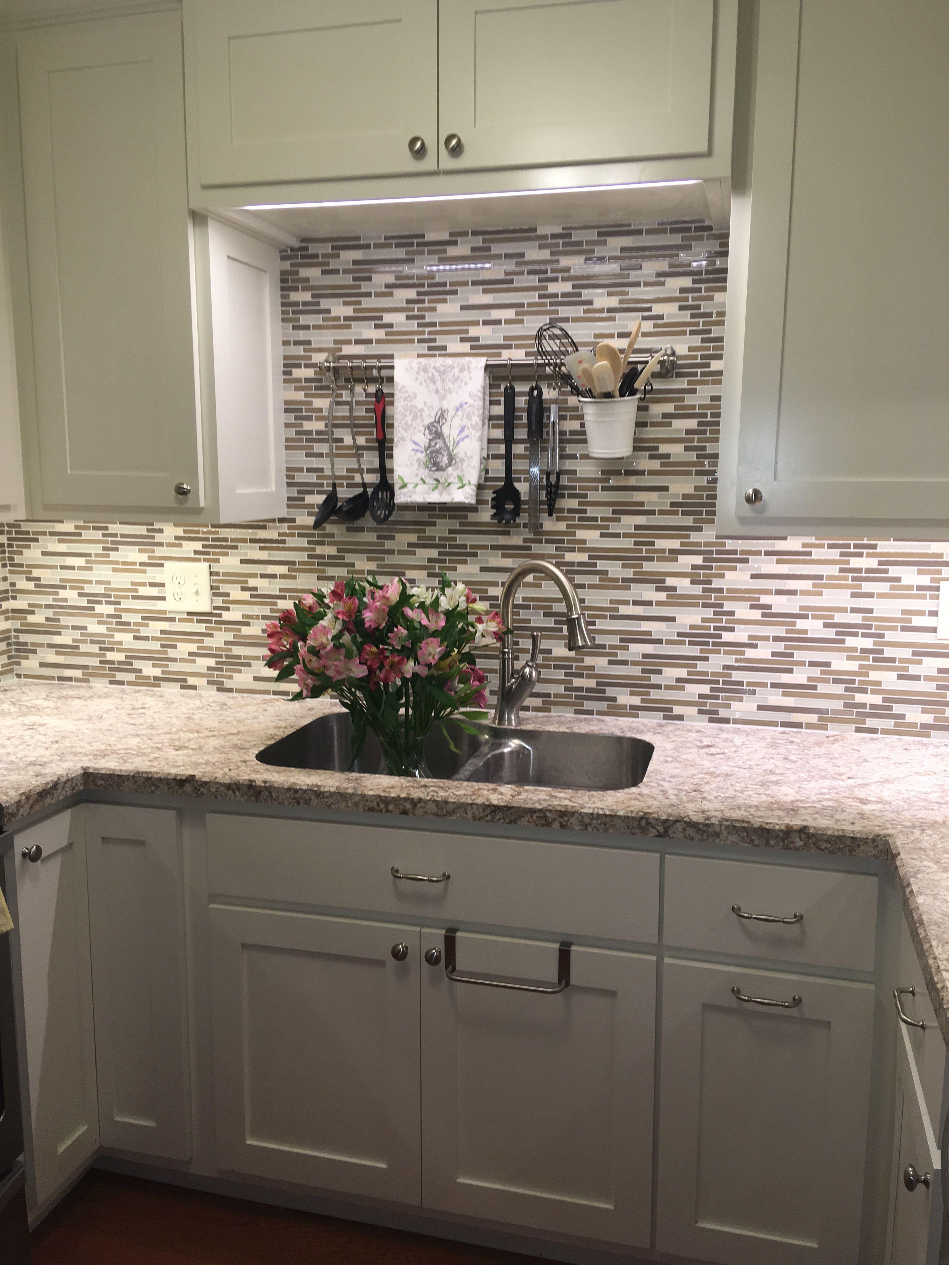 Wilsonart Bianco Romano Laminate With No Built In Backsplash And A Beveled Edge Tile Backsplash From Menards Kitchen Makeover Kitchen Kitchen Cabinets
