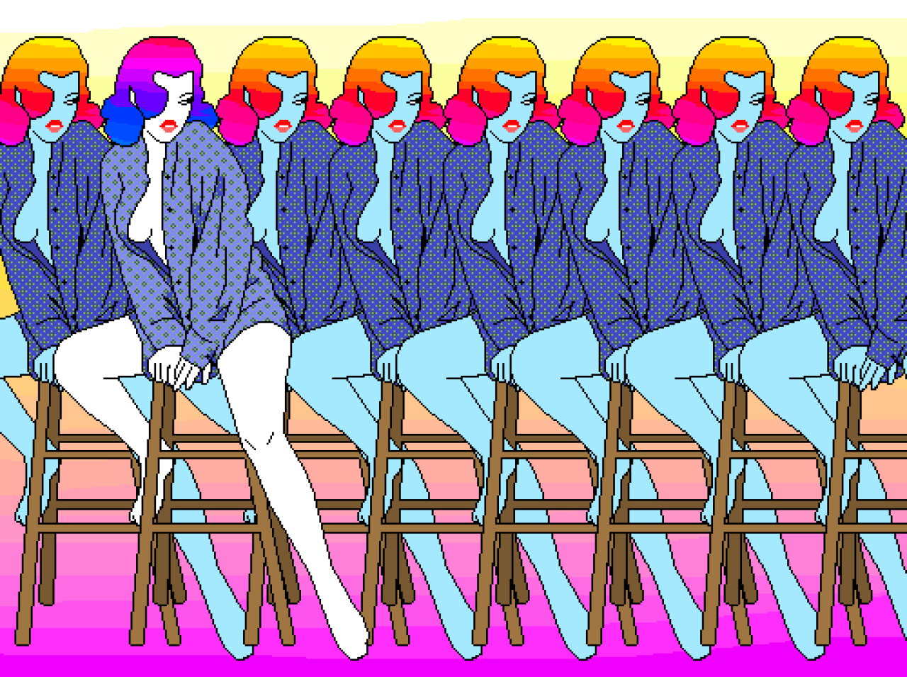 This gif has everything glitch pixel art graphic design vaporwave - Vaporwave Pixel Art By Quentin Laporte