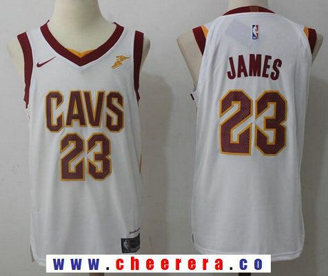 9e9f0929095 Men s Cleveland Cavaliers  23 LeBron James White 2017-2018 Nike Swingman  Goodyear Stitched NBA