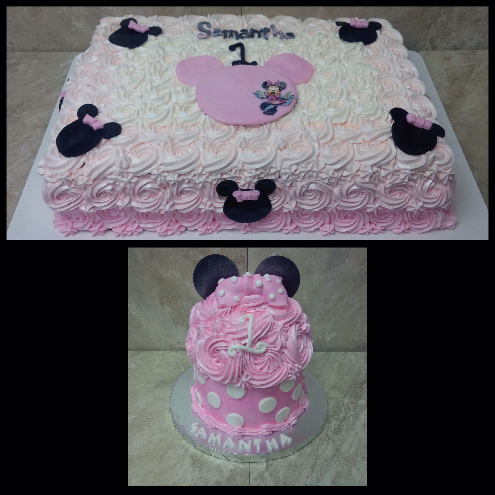 Minnie Mouse Sheet Cake And Matching Smash Cake Minnie Mouse First Birthday First Birthday Cakes Birthday Party Food
