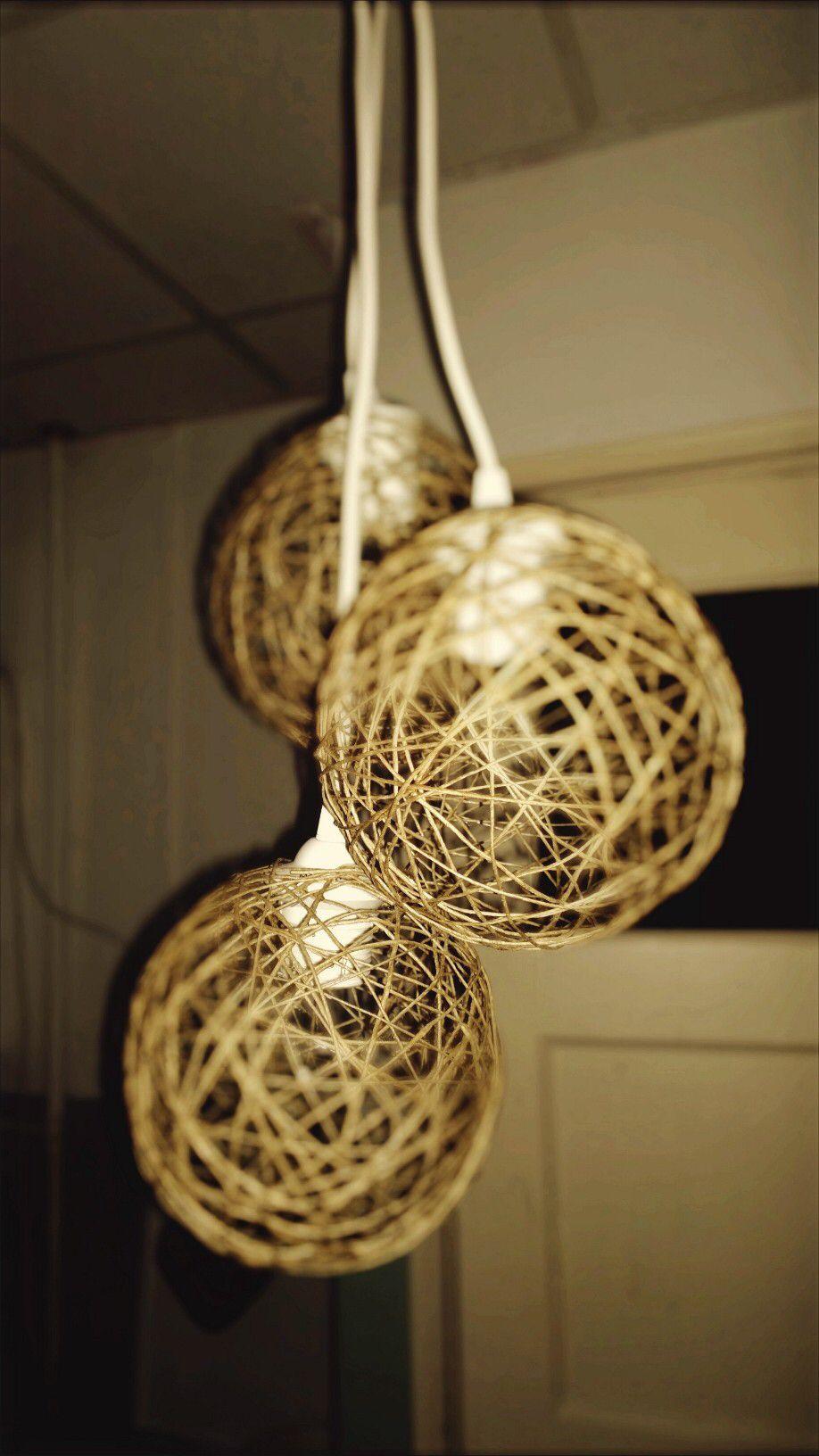 Diy Lamp Gemaakt Van Touw En Lijm Geslingerd Over Een Ballon Diy Lamp Ballon Touw