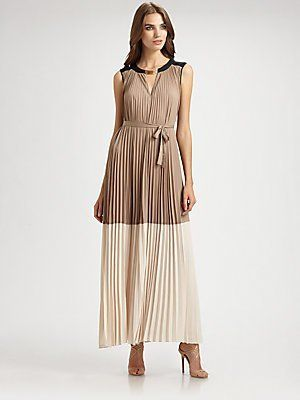 Bcbgmaxazria Adelaide Pleated Color Blocked Maxi Dress Brown