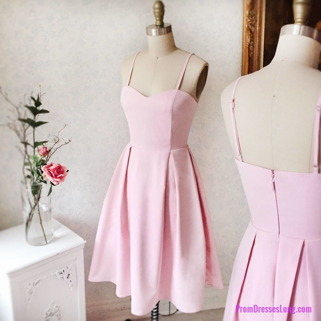 Charming prom dress a line pink short homecoming dress spaghetti