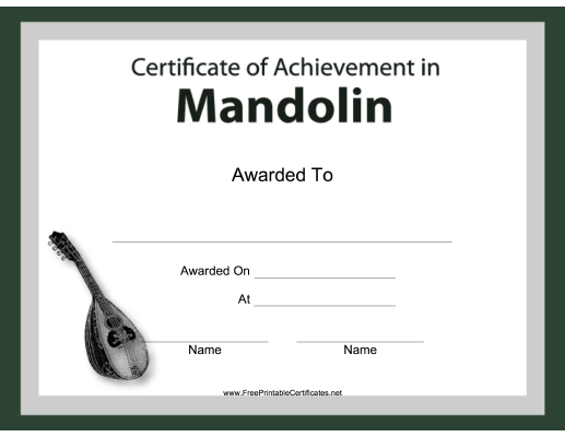 This Free Printable Certificate Of Achievement For Musical