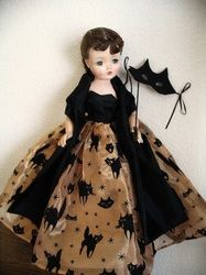 OOAK Halloween ballgown and stole for Madame Alexander Cissy.