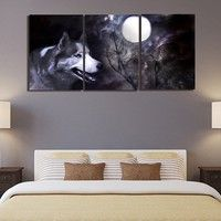 Wolf Wall Art 3 panel the wolf wall art picture modern painting canvas home