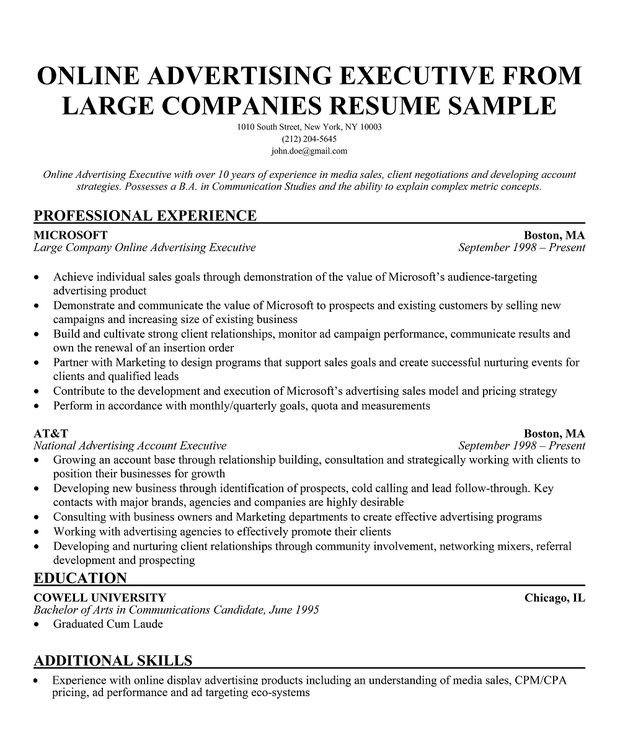 online advertising executive from large companies resume online advertising specialist sample resume - Online Advertising Specialist