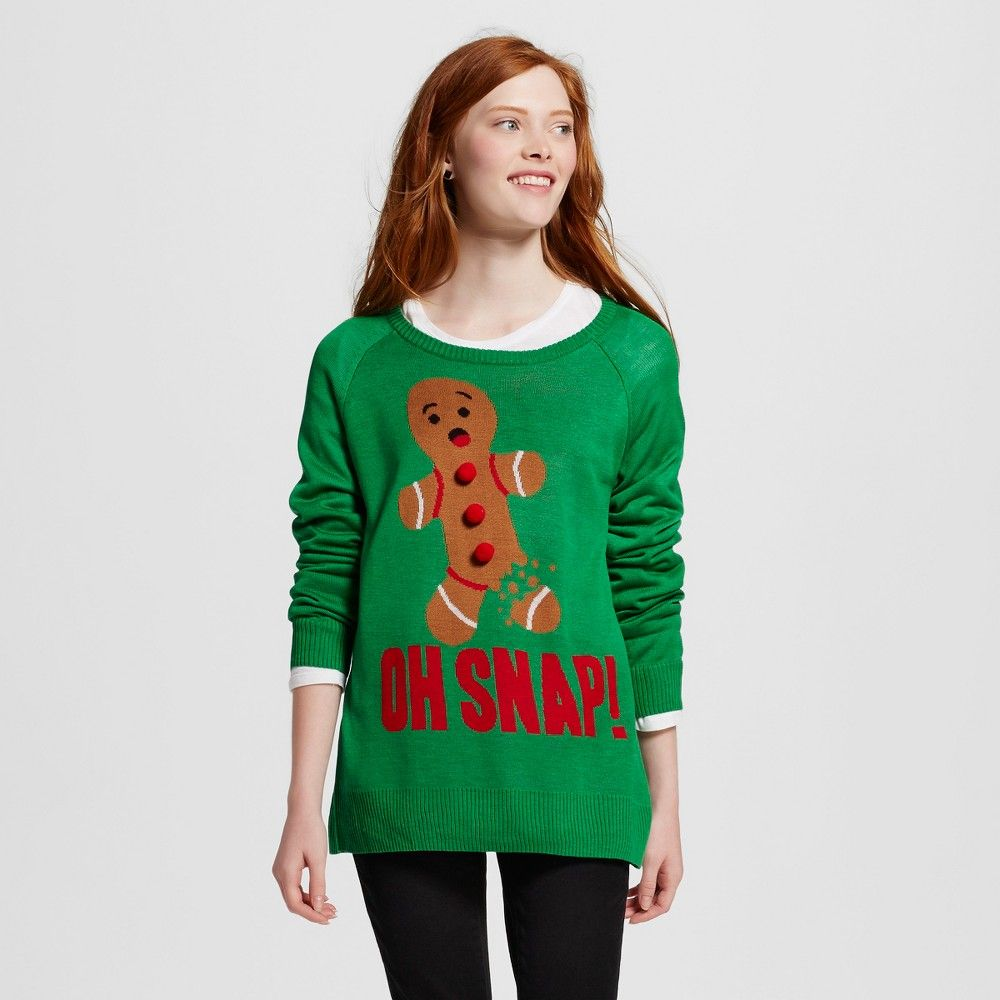 Womens Oh Snap Gingerbread Man Ugly Christmas Sweater Green