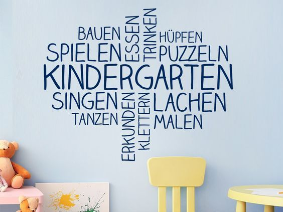 Wandtattoo Wortwolke Kindergarten | WANDTATTOO.DE #kitaräume