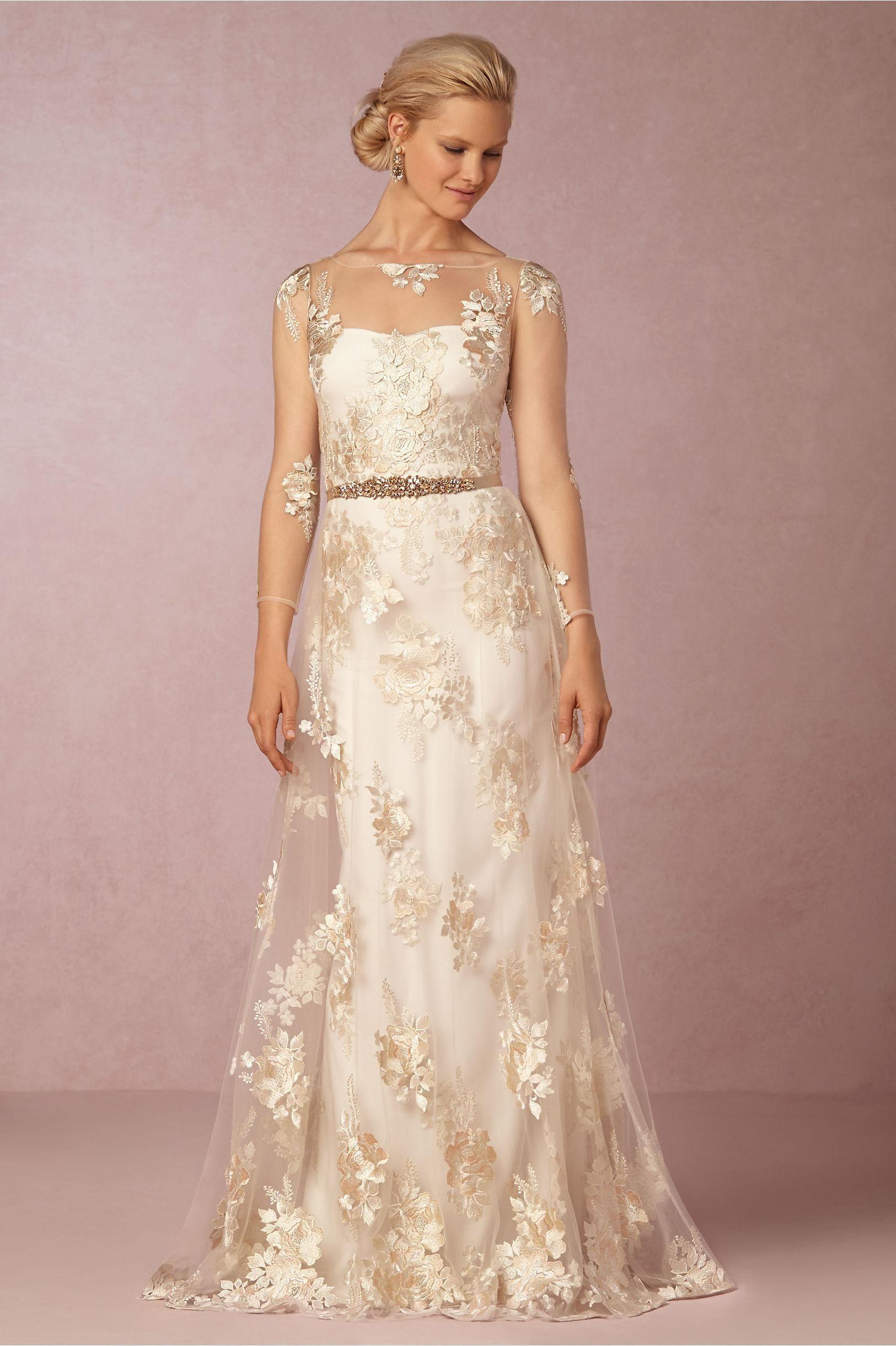 Bhldn sheer wedding dresses with illusion long sleeves jewel