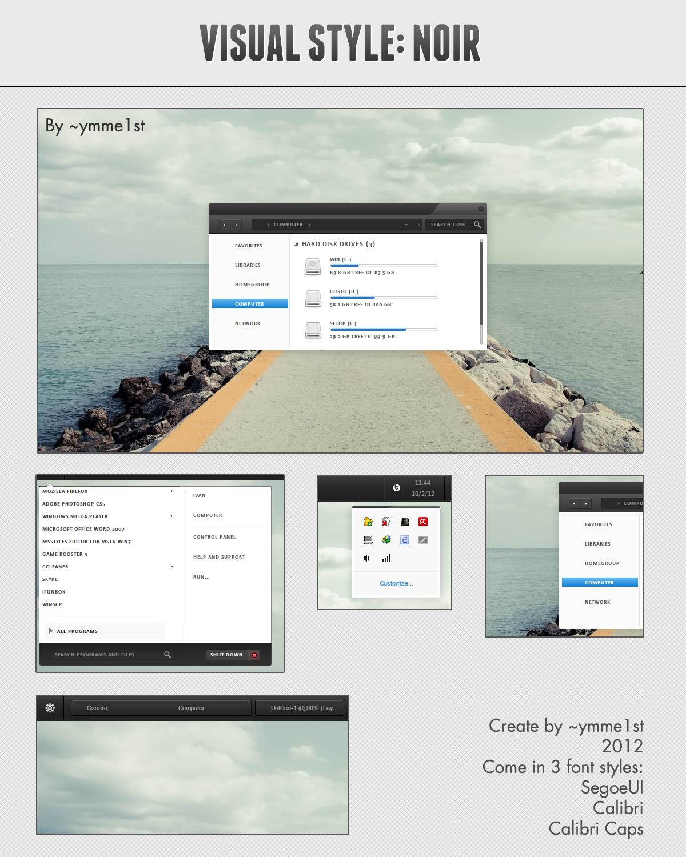 Cleodesktop Noir Theme For Windows 7 Noir, Visual, Theme