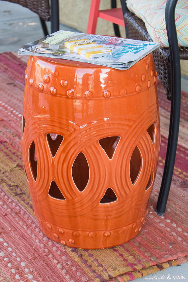 Orange Patio Stool