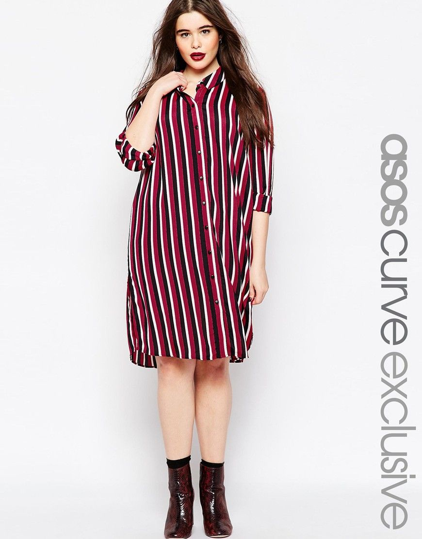 5545db97f4 Image 1 of ASOS CURVE Button Through Shirt Dress in Stripe