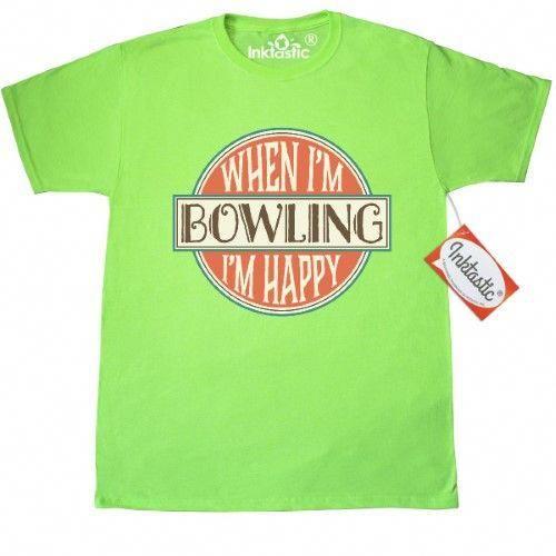 b78450db Inktastic When Im Bowling Im Happy T-Shirt Bowler Gift Bowl Team Vintage  Retro Sports Clothing Apparel Hobbies Hobby Mens Adult Tees T-shirts Hws,  ...