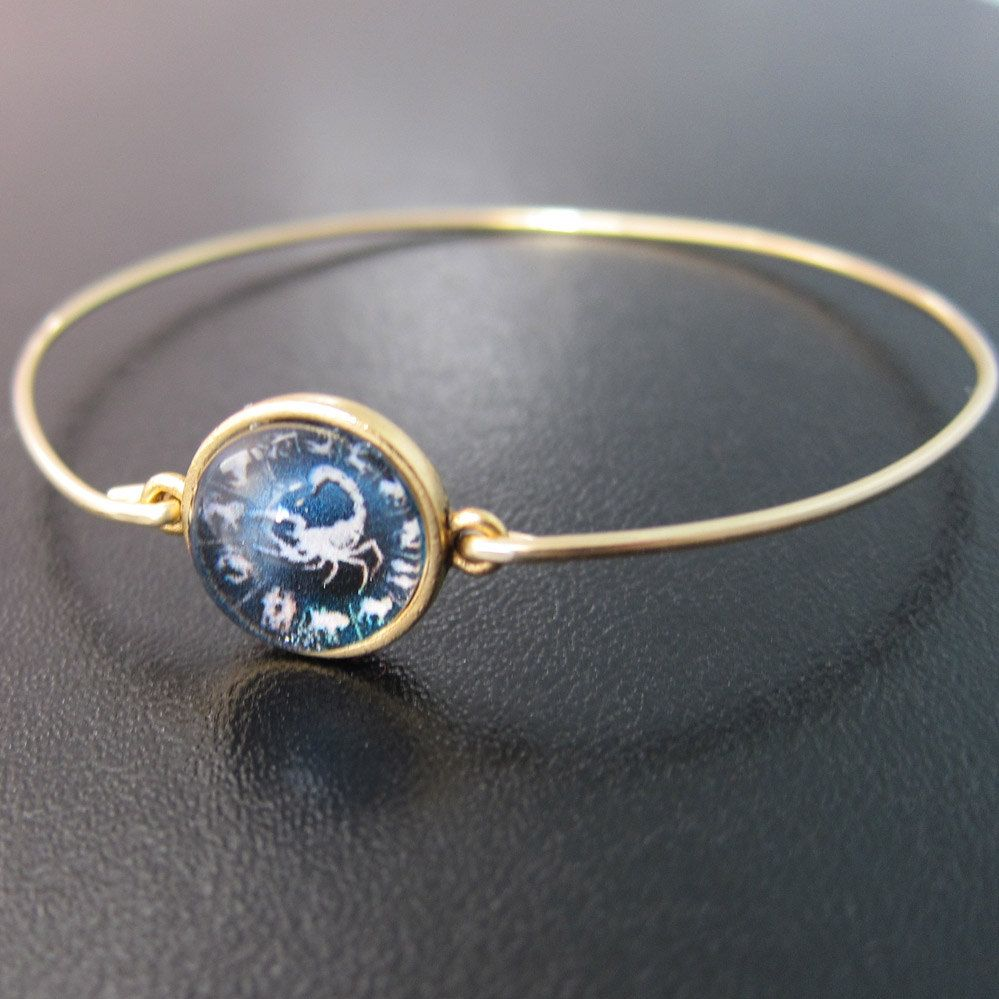 Zodiac charm bracelet gold zodiac bracelet zodiac bangle