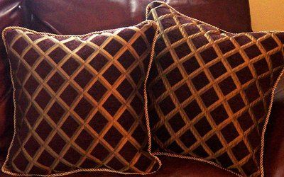 Decorative Throw Accent Pillows Cushions 2 Brown Chenille Bronze