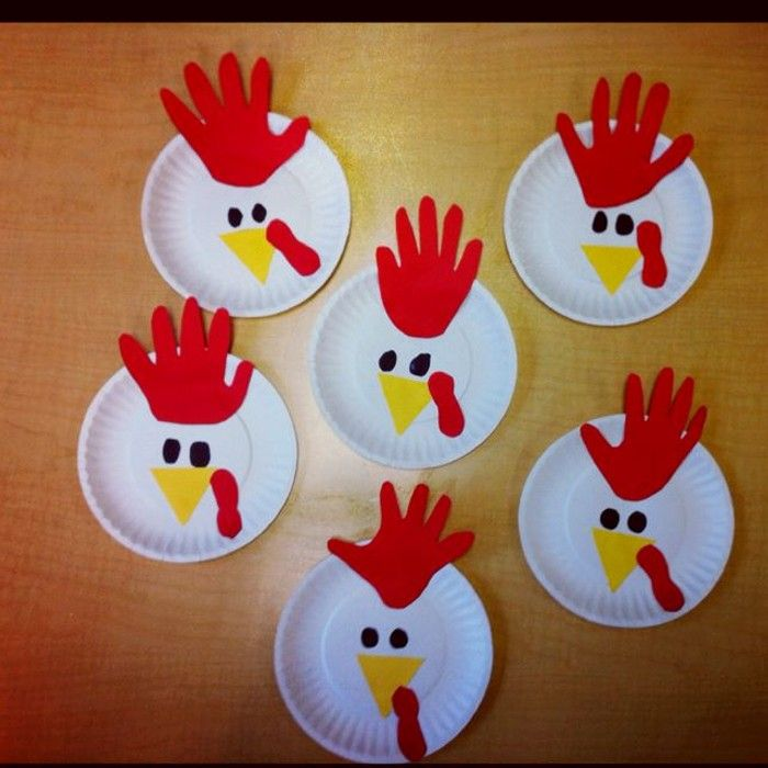 Paper Plate Roosters--and tons more handprint and footprint farm animals (and book suggestions) & kindergarten paperplate craft - Google Search | kids crafts ...