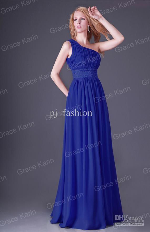One Shoulder Floor Length Chiffon Royal Blue Bridesmaid dress | my ...