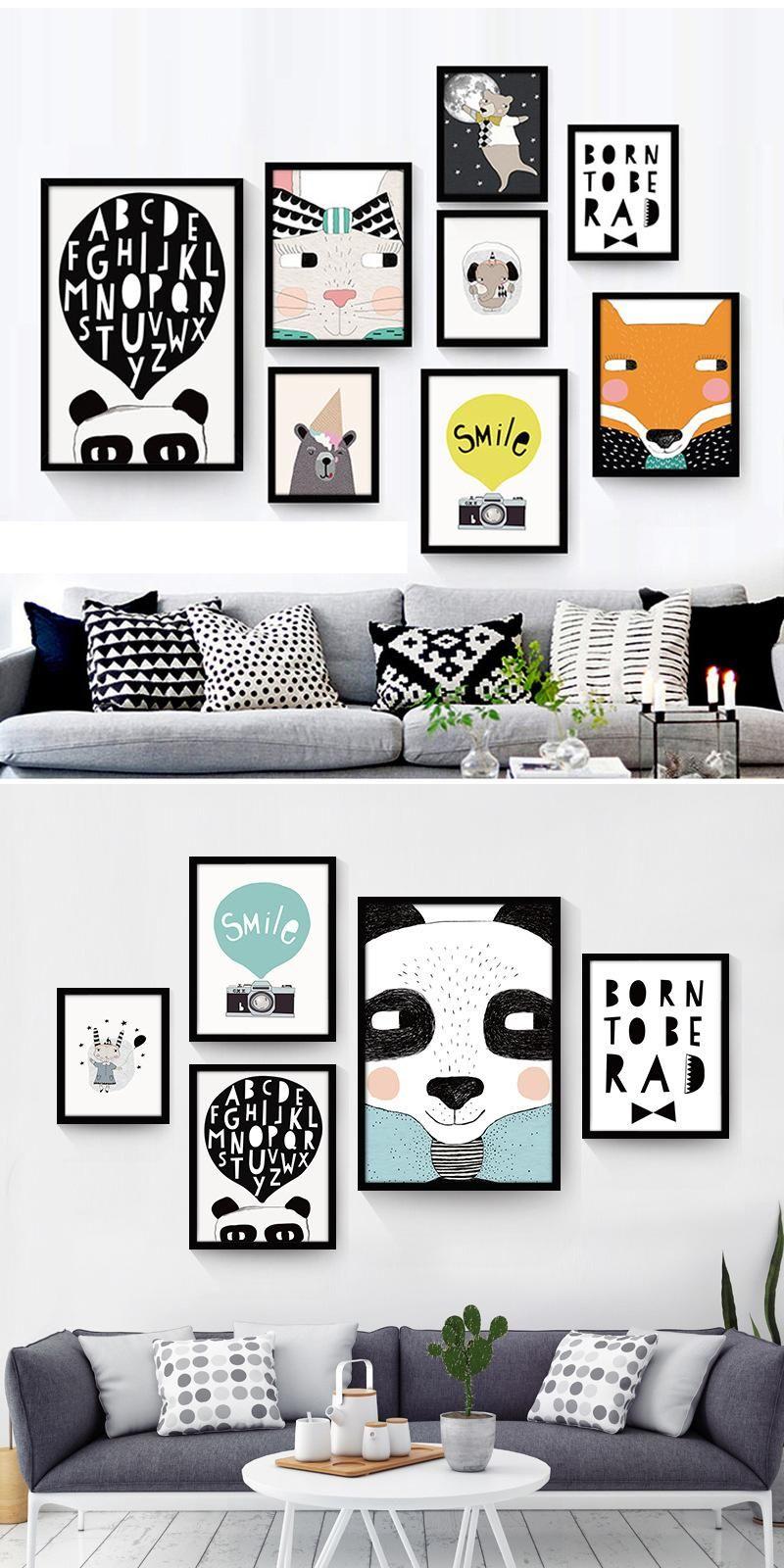 Black White Nordic Minimalist animal Bear Canvas Art Print Poster ...