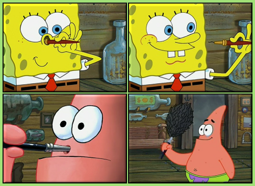 Spongebob And Patrick Brushes Captions Spongebob Funny