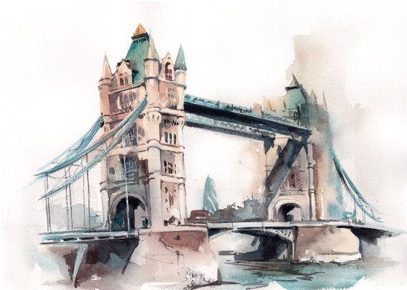 Tower Bridge Original Watercolor Painting London By Canotstop