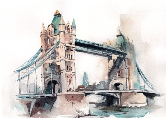 Tower Bridge Original Watercolor Painting London By Canotstop