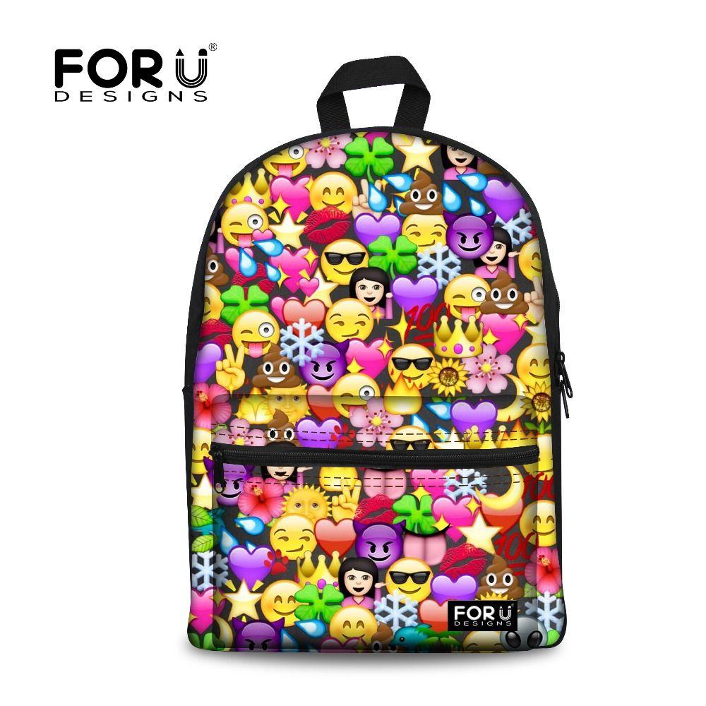 bb2264c432 FORUDESIGNS Backpack Women Funny Emoji Face Printing Cool Backpacks for Teenage  Girls 2017 School Back Pack Bag Mochila Feminina