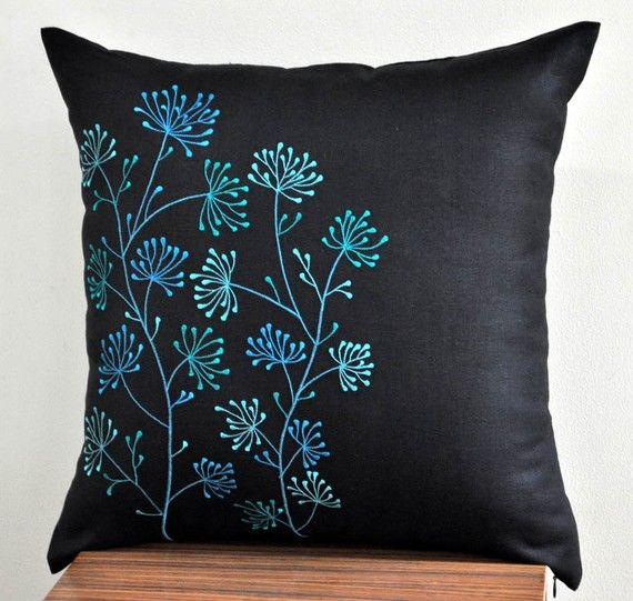 White Teal Floral Throw Pillow Cover