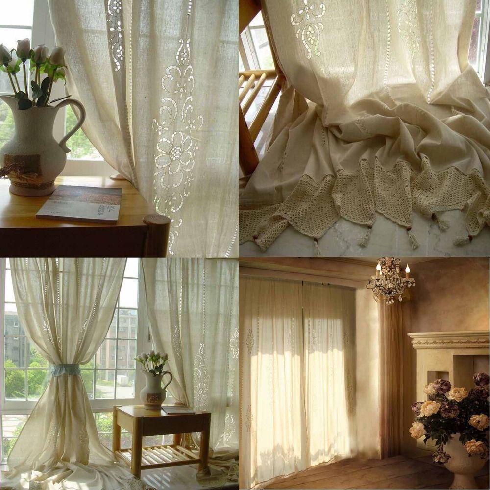 Tab Top French Country Cotton Linen Crochet Lace Curtain Panel ...