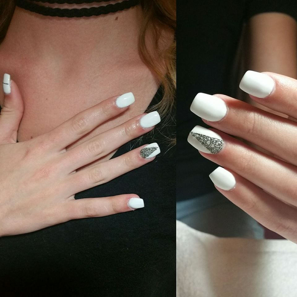 Total White With Glitter Triangle Prom Nail Art Prom Nails Prom Nails Red Prom Nails Silver