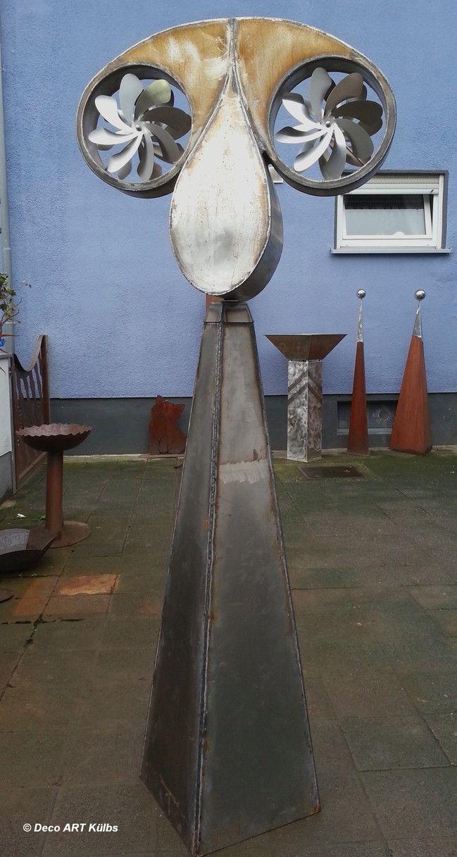 Windspiel aus Stahl mit Edelstahl Windräder. | Metallkunst ...