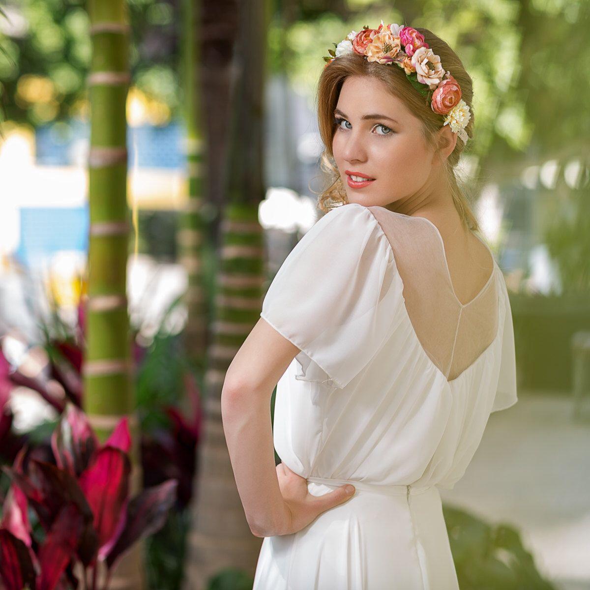 Vintage style wedding dress white ivory chiffon sleeves wedding
