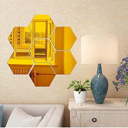$3.11 - Highpot 3D Mirror Hexagon Vinyl Wall Sticker Removable Decal ...