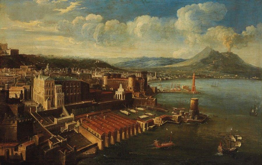 Attribuée à Tommaso Ruiz (actif au milieu du XVIIIe siècle), Vue de la baie de Naples, toile, 96 x 150 cm. Frais compris : 84 157 €. Lundi 24 novembre, salle 1 - Drouot-Richelieu. Aguttes SVV. Cabinet Turquin.
