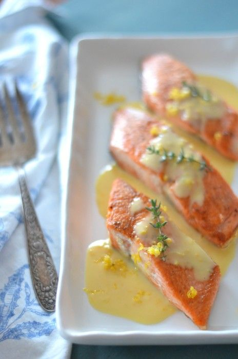 Photo of Meyer Lemon Beurre Blanc over Salmon // Karista's Kitchen