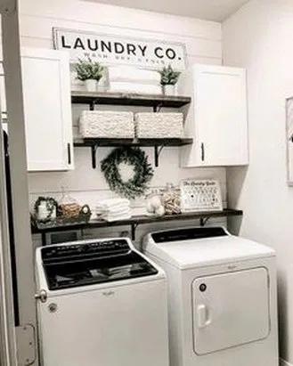 32 Smart Farmhouse Laundry Room Storage Organization Ideas