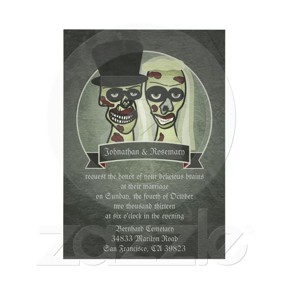 Zombie Bride and Groom Wedding Invitations #gothic #bloody #gory ...