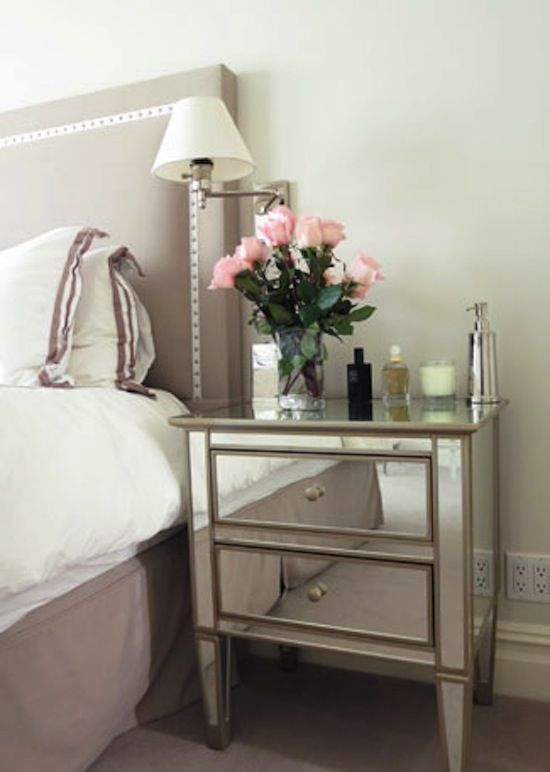 Bedroom nailhead trim headboard mirrored nightstand Night table ideas