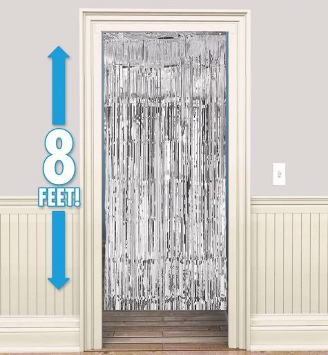 Silver Foil Doorway Curtain Party City My Wedding