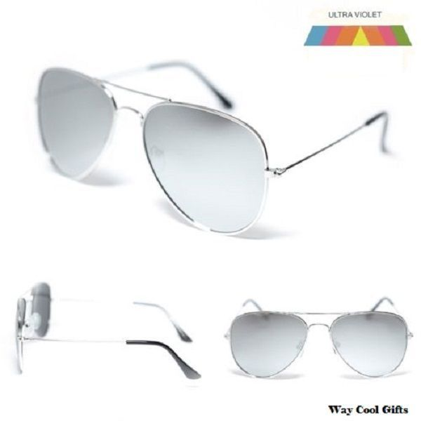 Air Force Vintage Aviator Silver Mirror Lens Sunglasses for Men 100% UVA #AirForce #Aviator