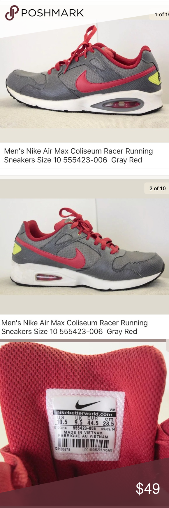 detailed look f8438 c28e0 Nike Air Max Coliseum Racer Mens Running Shoes 10 (S91.10.1 – IJJ)