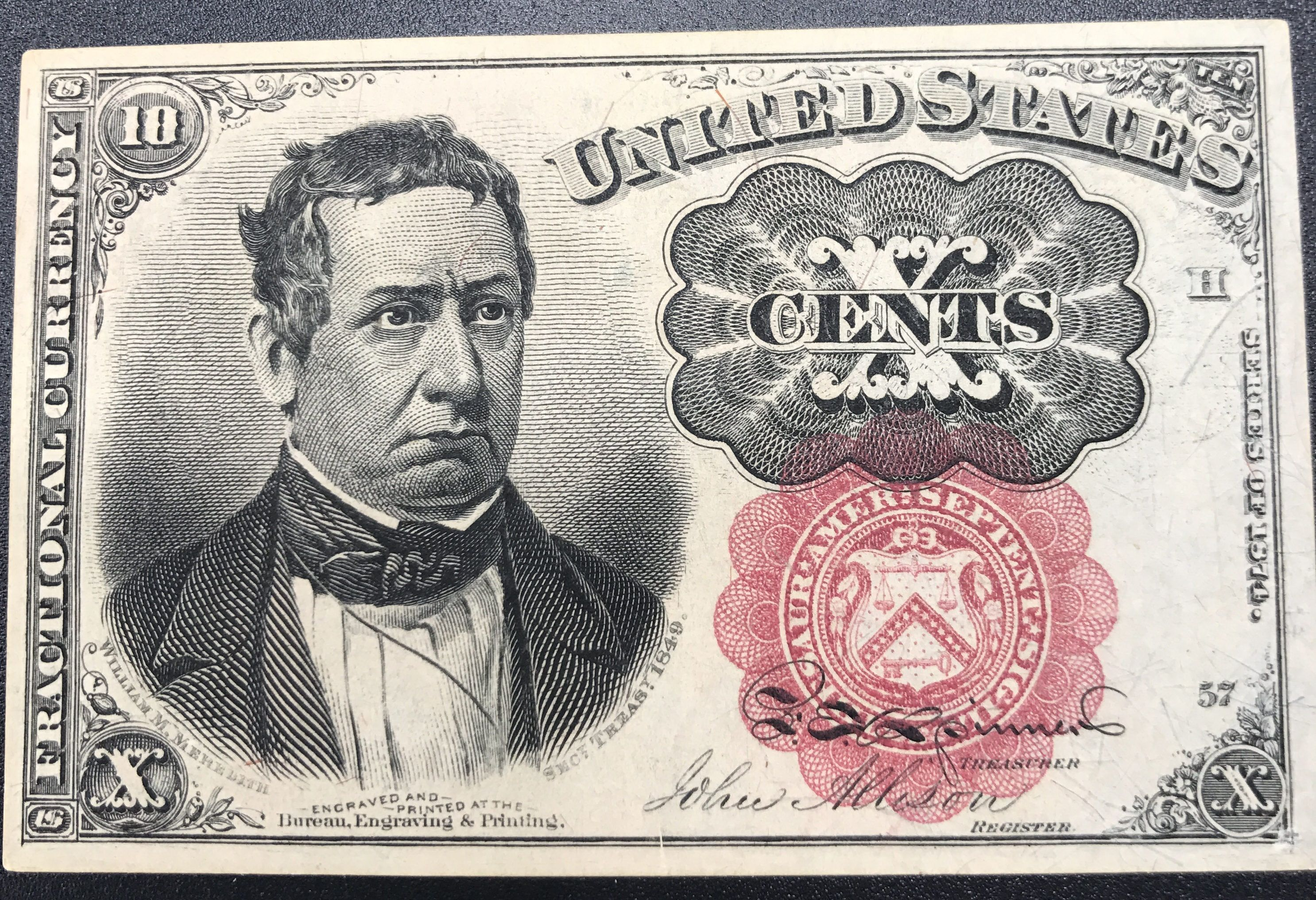 paper money Fractional Currency 5th Issue ten cent Red Seal long key ...
