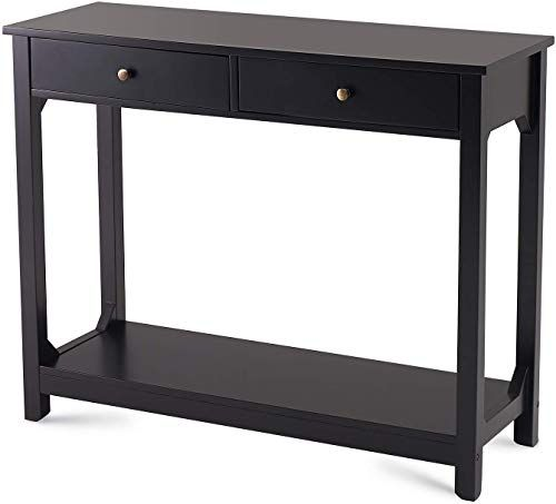 Best Seller Curved Accent Console Table Decor Storage: Best Seller TAOHFE Console Table Strong Wood Entryway